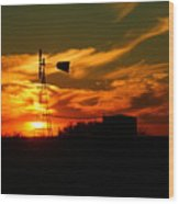 Sunset On A Windmill Jal New Mexico Wood Print