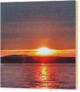 Sunset On A Yacht  Wood Print