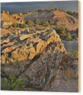 Sunset On Boulders Of Bentonite Site On Little Park Road Wood Print