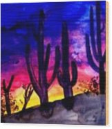 Sunset On Cactus Wood Print