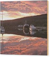Sunset On Caledonian Canal Wood Print