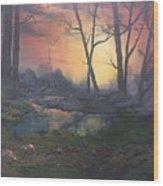 Sunset On Cannock Chase  Wood Print