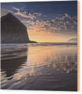 Sunset On Cannon Beach Wood Print