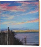 Sunset On Cape Cod Bay Wood Print