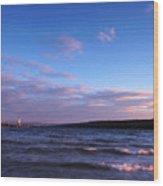 Sunset On Cayuga Lake Ithaca Wood Print