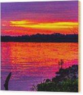 Sunset On Crab Orchard Wood Print