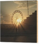 Sunset On Daytona Beach Wood Print