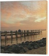 Sunset On Dewey Bay Wood Print