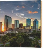 Sunset On Downtown Tampa Wood Print
