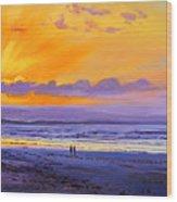 Sunset On Enniscrone Beach County Sligo Wood Print