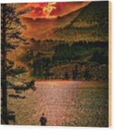 Sunset On Fire Wood Print