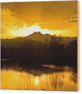Sunset On Golden Ponds Wood Print