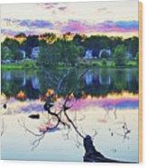 Sunset On Kenoza Lake Haverhill Ma Reflection Wood Print