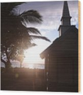 Sunset On Kona Church  Wood Print