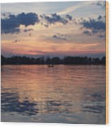 Sunset On Lake Mattoon Wood Print