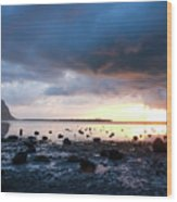 Sunset On Le Morne Wood Print