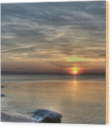 Sunset On Long Island Sound Wood Print