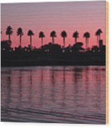 Sunset On Long Beach Bay Wood Print