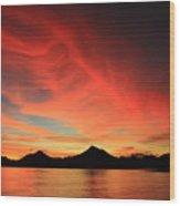 Sunset On Mahoro Wood Print