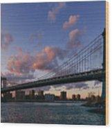 Sunset On Manhattan Bridge Wood Print by Dick Wood