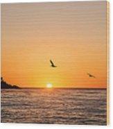 Sunset On Monterey Beach Wood Print