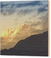 Sunset On Mount Kanchenjugha At Dusk Sikkim Wood Print