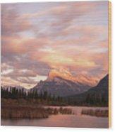 Sunset On Mount Rundle Wood Print