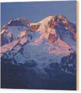1m4876-sunset On Mt. Rainier  Wood Print