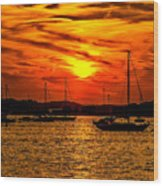Sunset On Muskegon Lake Wood Print
