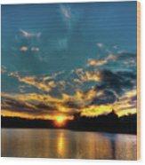 Sunset On Nicks Lake Wood Print