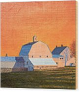 Sunset On Otisfield Barn Wood Print