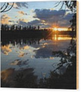 Sunset On Polly Lake Wood Print by Larry Ricker