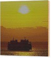 Sunset On Puget Sound Wood Print