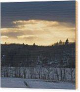 Sunset On Sabattus Lake Wood Print