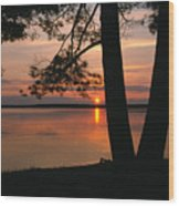 Sunset On Sister Bay Wood Print
