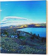 Sunset On Skaha Lake Wood Print