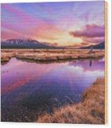 Sunset On Sparks Marsh Wood Print