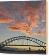 Sunset On Sydney Harbor Wood Print