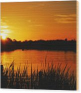 Sunset On The Alafia Wood Print