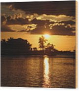 Sunset On The Bay Wood Print