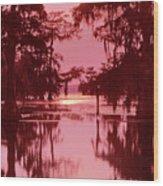 Sunset On The Bayou Atchafalaya Basin Louisiana Wood Print
