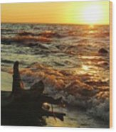 Sunset On The Beach Wood Print