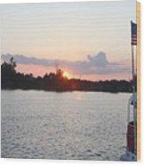 Sunset On The Cape Fear River North Carolina Wood Print