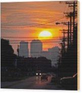 Sunset On The City Wood Print