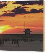 Sunset On The Clearwater Beach Wood Print