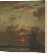 Sunset On The Coast 1870 Wood Print