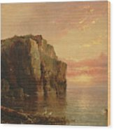 Sunset On The Coast Wood Print