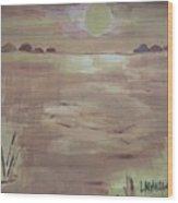 Sunset On The Desert Wood Print