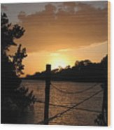 Sunset On The Dock II Wood Print