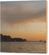 Sunset On The Edge Of Venice Wood Print